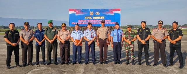 Polresta Banda Aceh Hadiri Apel Khusus di Lapangan Lanud Blang Bintang